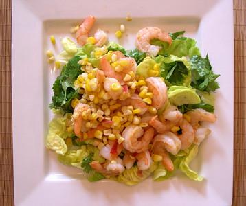 Bibb & Cilantro Salad with Shrimp & Toasted Corn