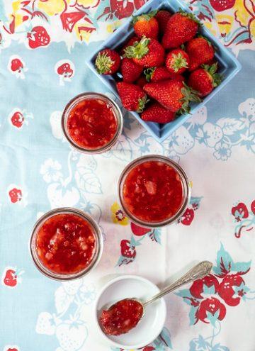 3 jars of strawberry freezer jam
