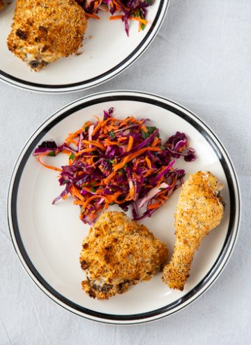 Plate with oven fried chicken.