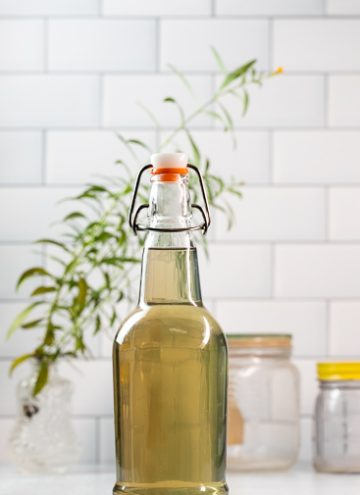 Bottle of homemade tarragon vinegar.