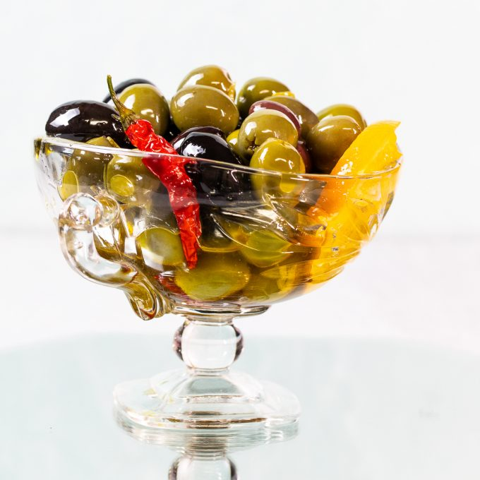 Bowl of marinated olives.