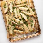 Oven baked fries on a cookie sheet.
