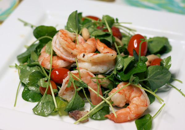 White Bean and Roasted Shrimp Salad with Cherry Tomato Vinaigrette