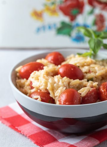 Bowl of Orzo with Tomatoes, Basil and Ricotta.
