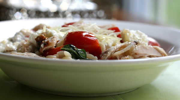 Tomato and Basil Orzo with Ricotta