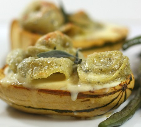 Roasted Acorn Squash Stuffed with Cheese Tortellini