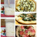 Photo collage showing pizza and dough.