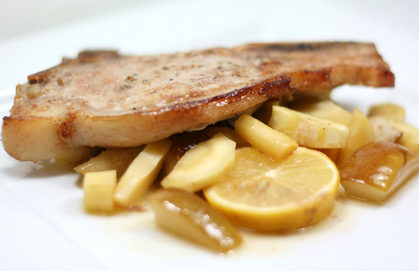 Pork With Caramelized Pear and Parsnip