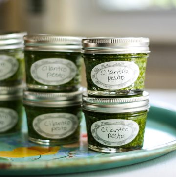 Jars of cilantro pesto.