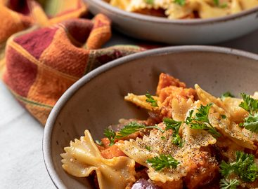 Pasta with Sweet Potatoes and Bacon