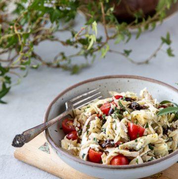 Bowl of Mediterranean Chicken Salad