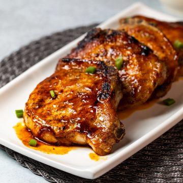 Seared and glazed pork chops.