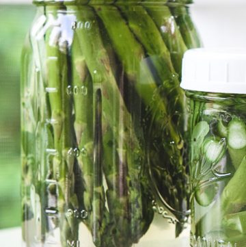Two jars of refrigerator pickled asparagus