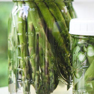 Two jars of refrigerator pickled asparagus