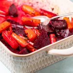 Casserole with roasted beets and carrots.