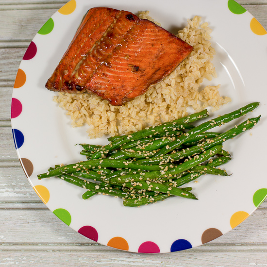 Five Spice Glazed Salmon with Sesame Green Beans
