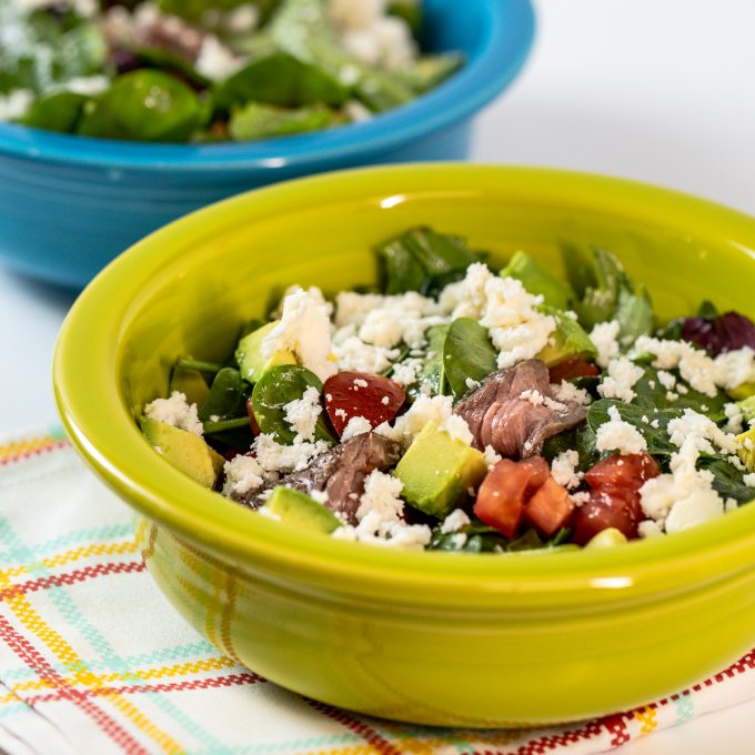 Mexican Steak Salad in a green bowl.