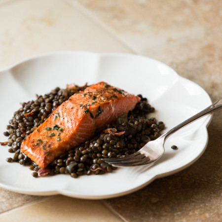 Salmon over Warm Lentils with Crispy Pancetta