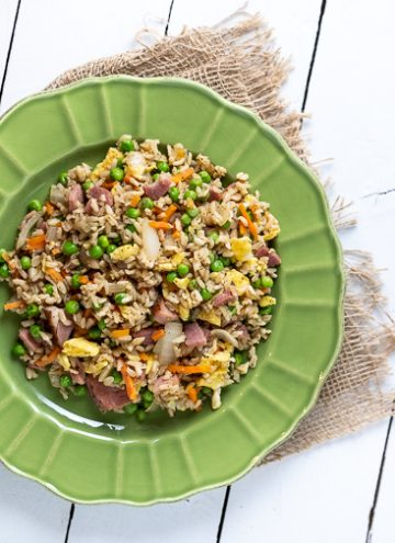 Plate of ham fried rice