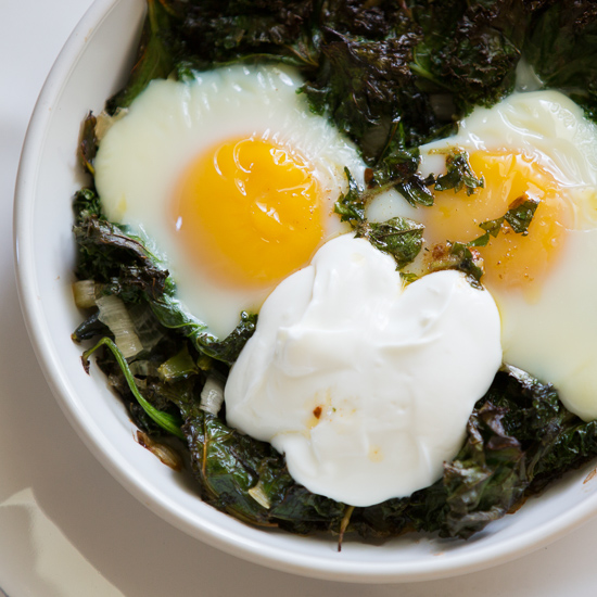 Baked Eggs with Spinach, Yogurt and Chili Oil.