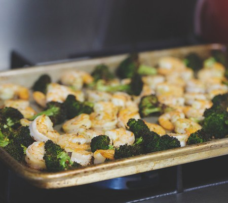 Roasted Broccoli with Shrimp from The New York Times