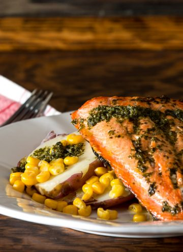 Broiled Salmon with corn and potatoes.