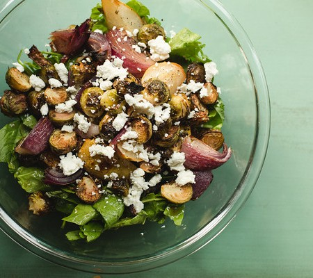 Roasted Brussels Sprout and Pear Salad
