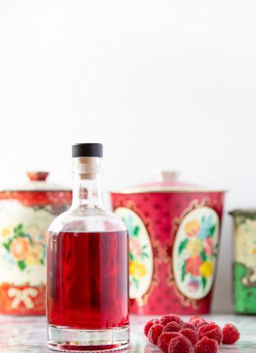 Bottle of raspberry vodka.