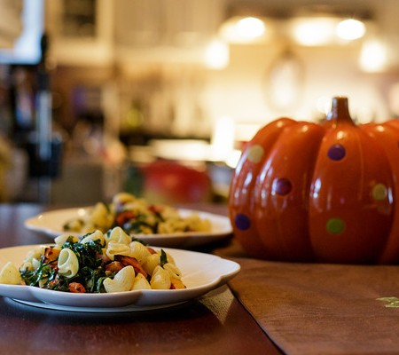 Pasta with Butternut Squash, Collards and Bacon for Foodie Friday