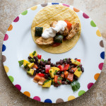 Spice-Rubbed Chicken and Vegetable Tacos with Chipotle Cream