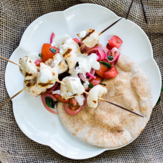 Chicken Skewers with Mint and Lemon Dressing