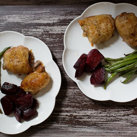 Roasted Chicken, Green Beans and Beets | Sidewalk Shoes