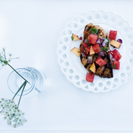 Marinated Grilled Chicken Breasts with Watermelon-Jalapeno Salsa for Picnic Week
