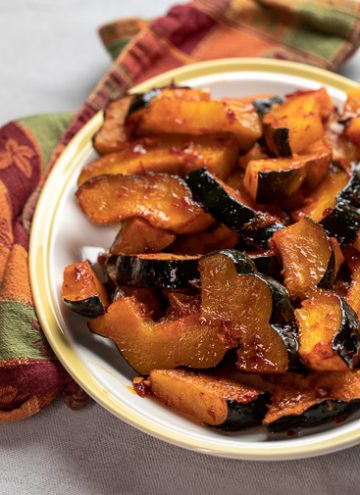 Harissa Roasted Squash on a platter.