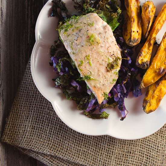 Salmon Roasted with Cabbage and Kale #salmonrecipes