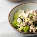 Bowl of chicken salad.