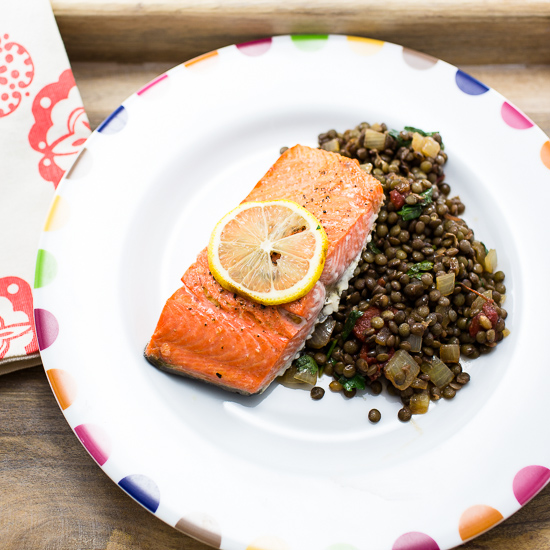 Salmon Broiled with Lemon and Green Lentil Salad