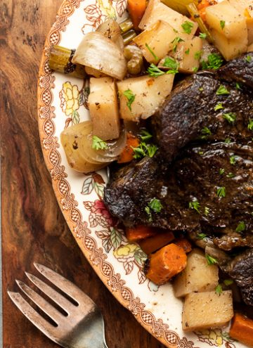 Platter of pot roast and vegetables.