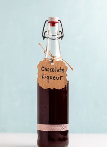 Bottle of homemade Chocolate liqueur.