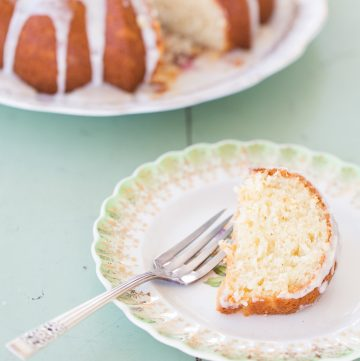 Slice of bundt cake on a plate.