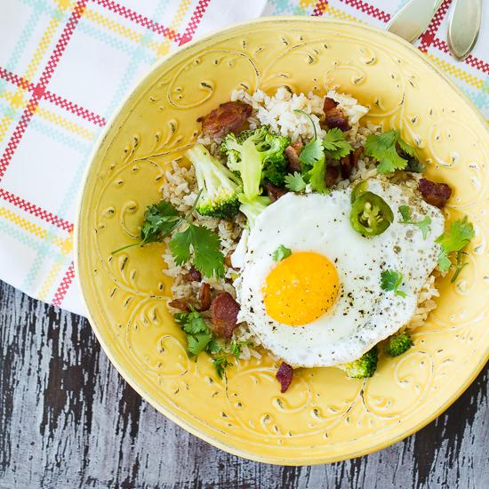 Bacon, Broccoli and Egg Rice Bowl