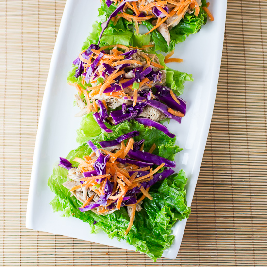 Chicken Lettuce Wraps with Slaw