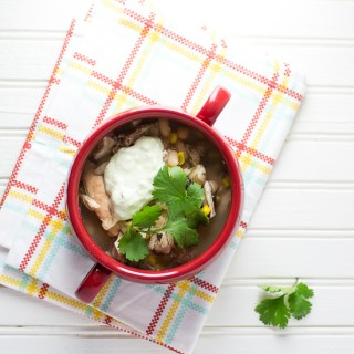 Slow Cooker White Chili with Avocado Cream
