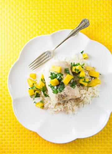 Mahi Mahi with Coconut-Ginger Rice and Mango Salsa