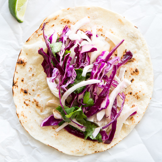 Spicy Fish Tacos with Fennel Slaw -