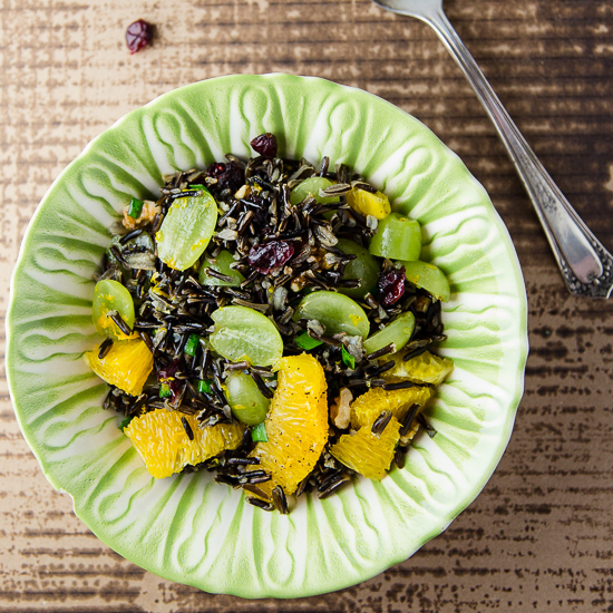 Wild Rice Salad with Oranges and Grapes