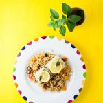 Mahi mahi with olive and bell pepper couscous