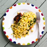 Red Chile Rubbed Salmon with Toasted Corn Vinaigrette