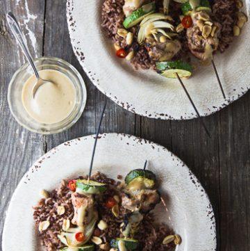 Grilled Tahini Pork Skewers