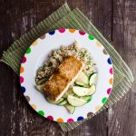 Glazed Salmon with Zucchini and Bulgur Pilaf